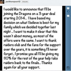 Thompson took to Instagram to announce he would be heading to the Dragons.
