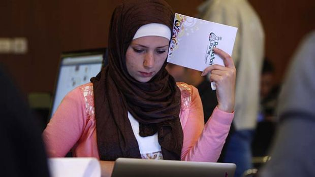 A Palestinian programmer attends a Ramallah Start-up Weekend workshop in the West Bank city of Ramallah.