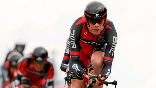Playing catch-up: BMC's Cadel Evans during the team time trial of the Giro del Trentino in Lienz.