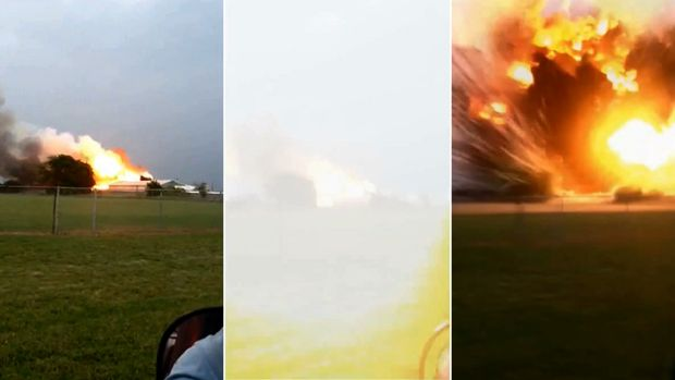 This sequence of photos, from left to right, shows the plant on fire, and then the sky going white after an explosion. ...