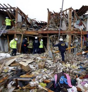 Massive devastation: The number of casualties may rise as rescue workers continue their search for bodies.