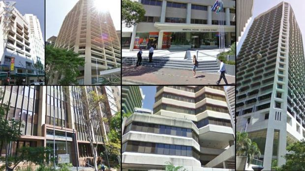 Government buildings beings sold off (clockwise from top left): David Longland Building at 81 George Street; Education ...