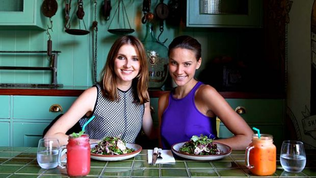 Mum's the word: Kate Waterhouse with model and Channel Seven host Rachael Finch.
