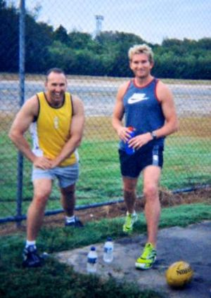 Shane Charter with Essendon's James Hird with whom he worked on the club's supplements program.
