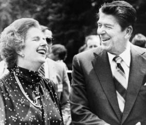 With her good friend and ally, former US president Ronald Reagan.