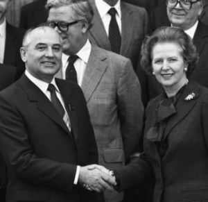 Greeting former Soviet leader Mikhail Gorbachev at Chequers in 1984.