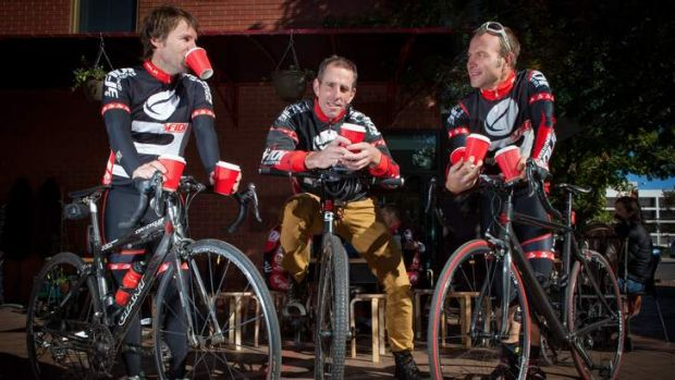 Robert Bleeker a cyclist and former barista, enjoys coffee with his cycling mates at the Good Brother Cafe in Dickson.