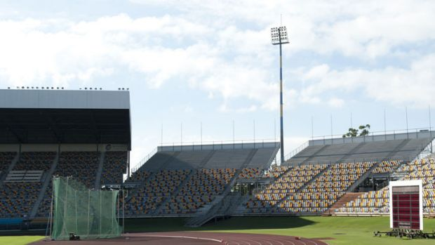 The Queensland Sports and Athletics Centre at Nathan in Brisbane, previously known as QEII Stadium and ANZ Stadium.