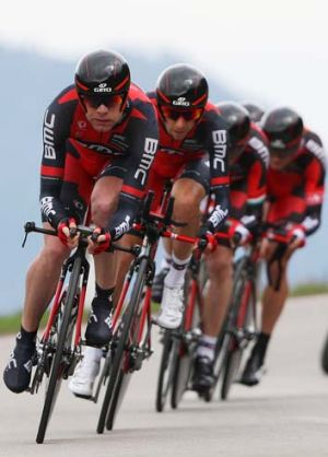 Good form: Cadel Evans leading his BMC team last week.