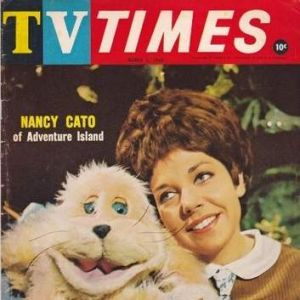 Nancy Cato on the cover of TV Times with another furry friend from her <i>Adventure Island</i> days.