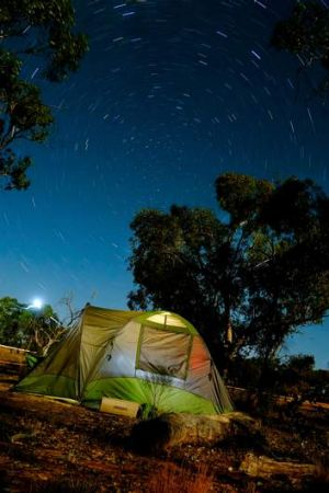 Starry night: environmental scientists camp at Naree Station outside Bourke.