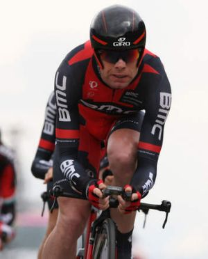 Teamwork: Cadel Evans during the Giro del Trentino time trial.