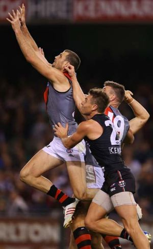 Stepping up: Scott Gumbleton starred for the Bombers as a late call-up to the side against St Kilda at Etihad Stadium on ...