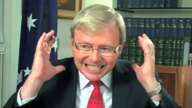 Insufficient evidence to lay charges: Screen shot of the Youtube video of Kevin Rudd swearing entitled <em>Kevin Rudd is ...