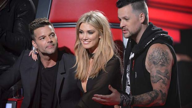 "Starting strong in 2013: Three of the show's four ""judges"", from left, Ricky Martin, Delta Goodrem and Joel Madden."