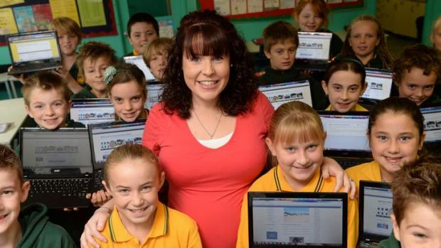 Kathleen Morris with her Leopold Primary School students.