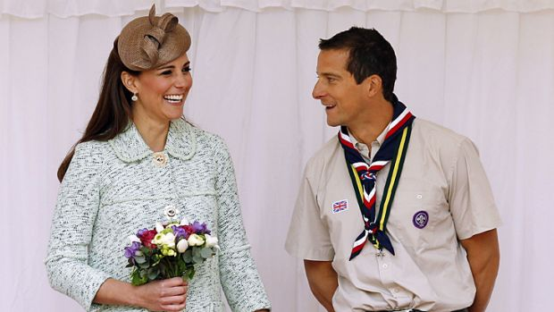 The Duchess of Cambridge with Chief Scout Bear Grylls at the National Review of Queen's Scouts at Windsor Castle on Sunday/