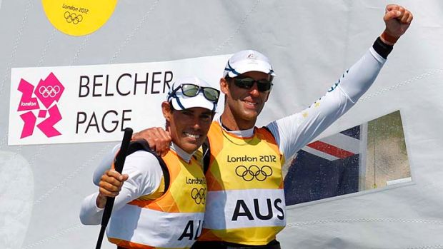 Sailing a winner: Mathew Belcher and Malcolm Page celebrate gold in London.