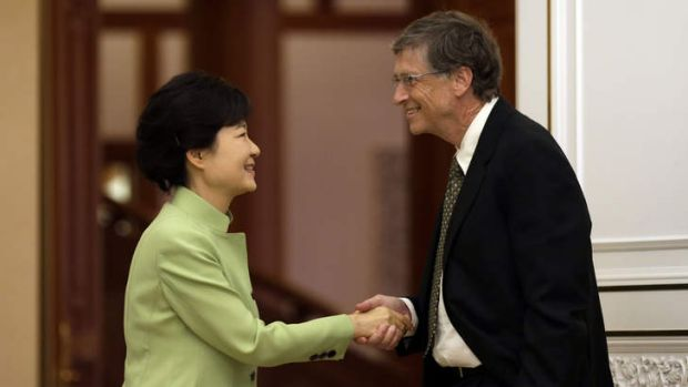 Controversy: Bill Gates sparked heated debate in South Korea after leaving one hand in his pocket when greeting ...