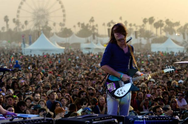 Musician Kevin Parker of Tame Impala performs onstage during day 3 of the 2013 Coachella Valley Music & Arts Festival at ...