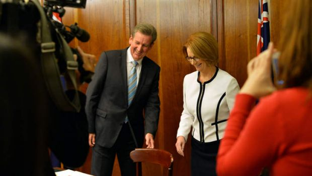 New South Wales Premier Barry O'Farrell and Prime Minister Julia Gillard prepare to sign the National Education Reform ...