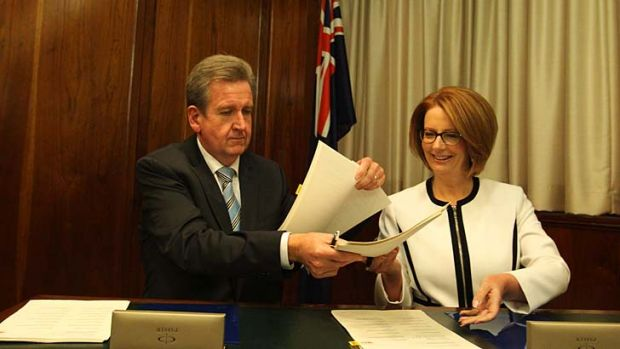 NSW Premier Barry O'Farrell and Prime Minister Julia Gillard.
