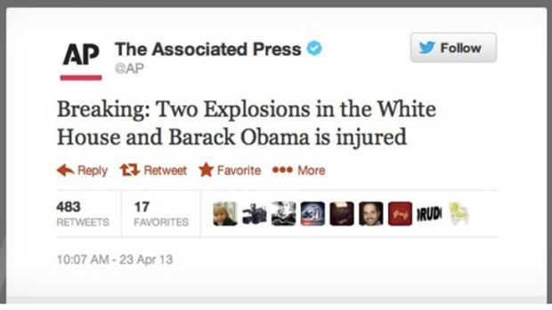 False alarm ... the tweet from a hacked Associated Press account.