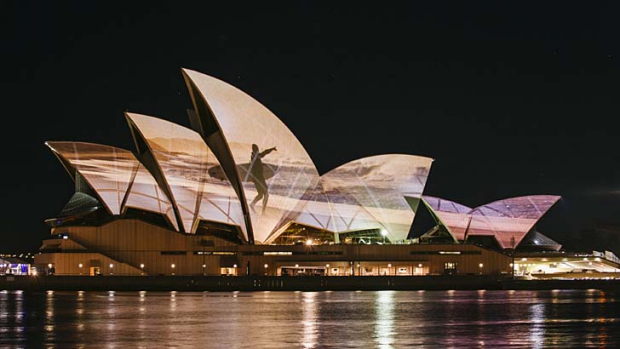 An image is seen on the sails of the Sydney Opera House.