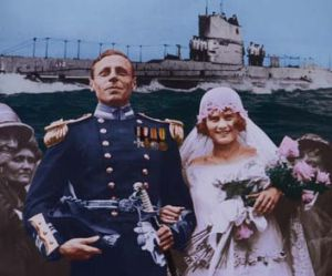 Lieutenant Haggard on his wedding day with Marjorie Syme.