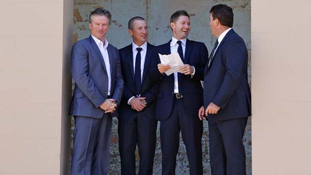 Past and present: Steve Waugh, Brad Haddin, Michael Clarke and Mark Taylor.