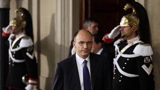 Nominated: Deputy leader of Italy's centre-left Democratic Party  Enrico Letta arrives at the Quirinale Palace in Rome.