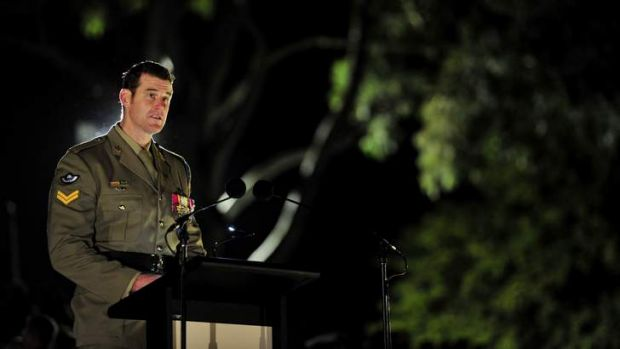 Corporal Ben Roberts-Smith VC MGl reads an emotive accounts of Australian service in Afghanistan at the Australian War ...
