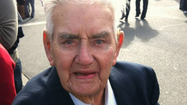 Missing medals: Maurice Dore, 90, at the Anzac Day parade in Albury this morning.