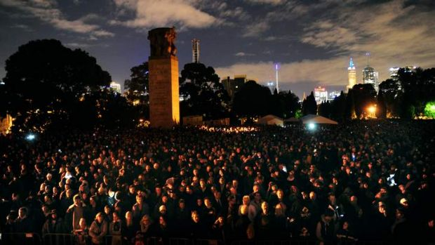 The 2013 Anzac Day Dawn Service at Melbourne's Shrine of Remembrance.