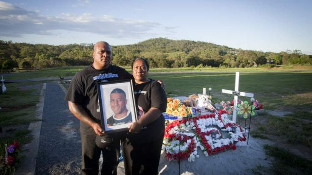 Lest we forget … Mosese Fotuaika's parents, Lisa and Penitani, at his grave.