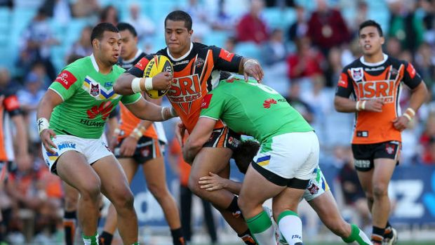 Going forward … Mosese Fotaika playing for Wests Tigers against Canberra in the 2012 National Youth Cup grand final.