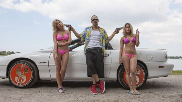 Young and restless: Ashley Benson, James Franco and Vanessa Hudgens in <i>Spring Breakers</i>.