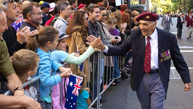 Fewer marchers: A veteran in the Sydney parade.