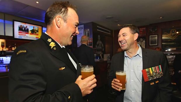 Catch up: Chief Petty Officer Chris Wright, left, and Gavin Stevens.
