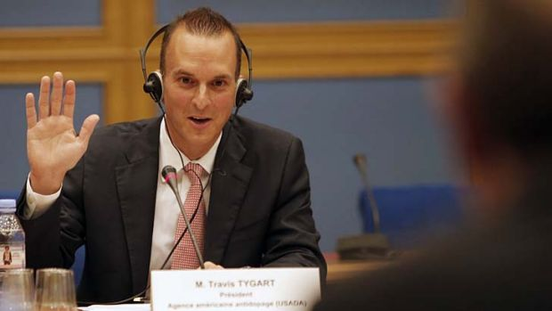 The head of  USADA, Travis Tygart, takes an oath prior to answering questions before a senate-led inquiry into the fight ...