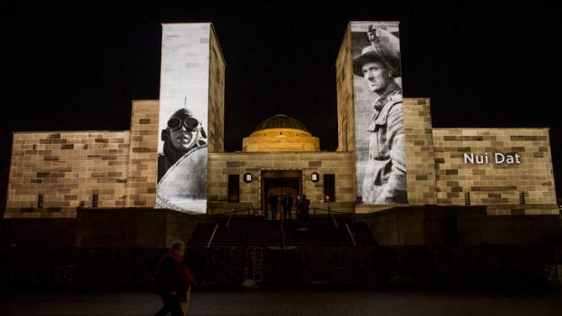Images were projected on to the War Memorial during Anzac Day commemorations this year.