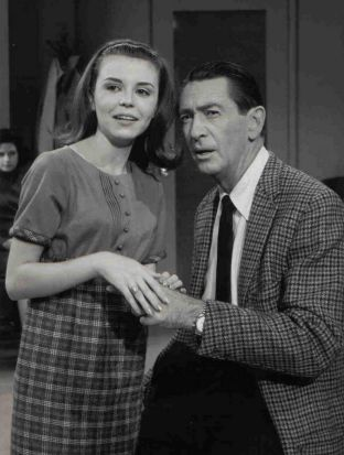 Charla Doherty and Macdonald Carey during the first episode taping of <i>Days of our Lives</i> on October 29, 1965.