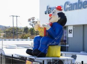 A Moscow circus clown at Jayco on Yass Rd, Queanbyean.