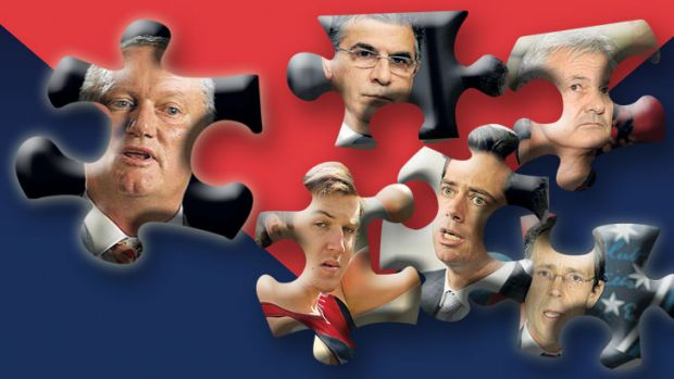Parts of the puzzle? (clockwise from above): Stephen Dank, Andrew Demetriou, Neil Craig, Cameron Schwab, Gillon ...