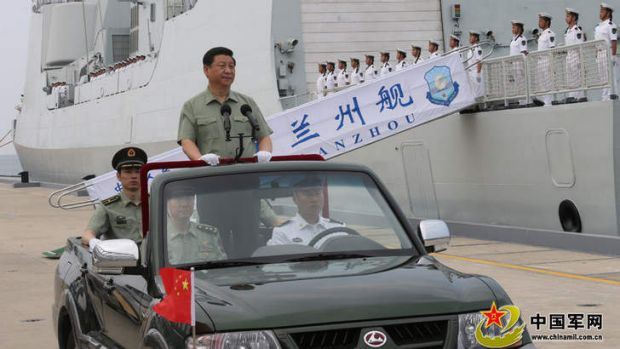 President Xi Jinping inspects China's growing naval force.