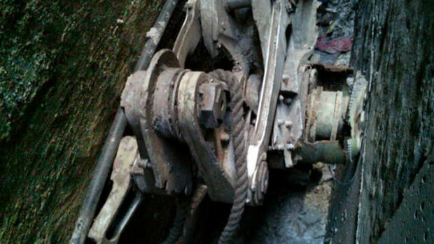 A photo provided by the New York City Police Department shows a piece of landing gear that authorities believe belongs ...