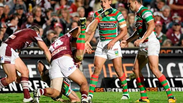 Brookvale Oval piledriver: a Richie Fa'aoso spear tackle on Greg Inglis on Friday night - one of two - has the Rabbitohs ...