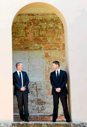 Chain of command: Vice-captain Brad Haddin and skipper Michael Clarke at the announcement of the Ashes squad.