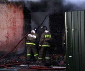Cause not yet determined: Firefighters work to contain the blaze at the psychiatric hospital.