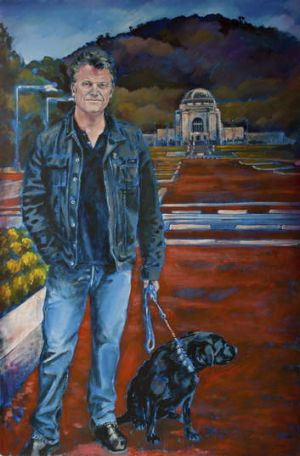 The artist's painting of Daley and dog.